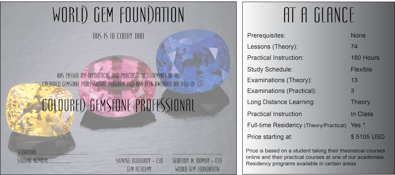 At A Glance Coloured Gemstone Professional Diploma Program