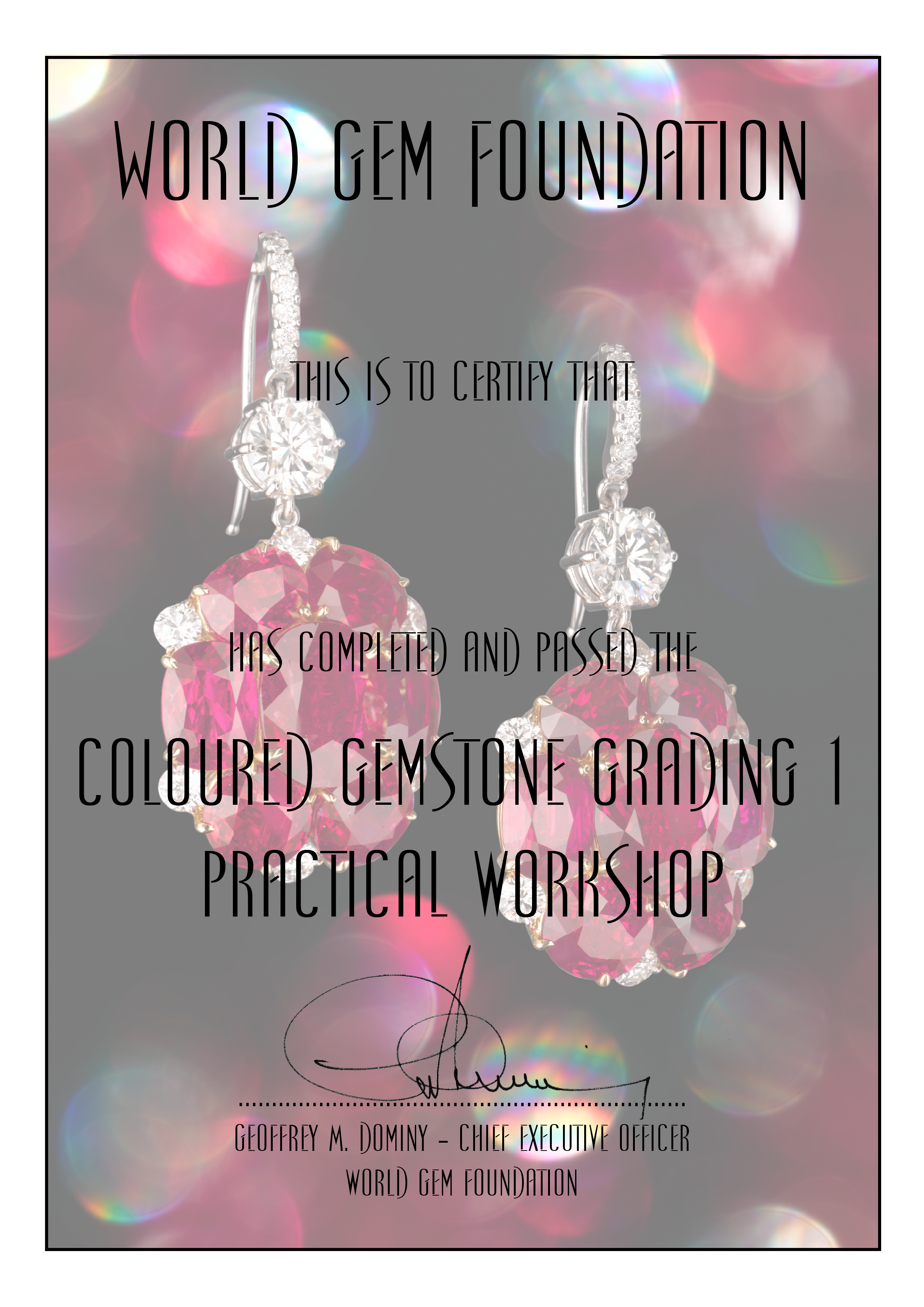 Coloured Gemstone Grading #1 Certificate