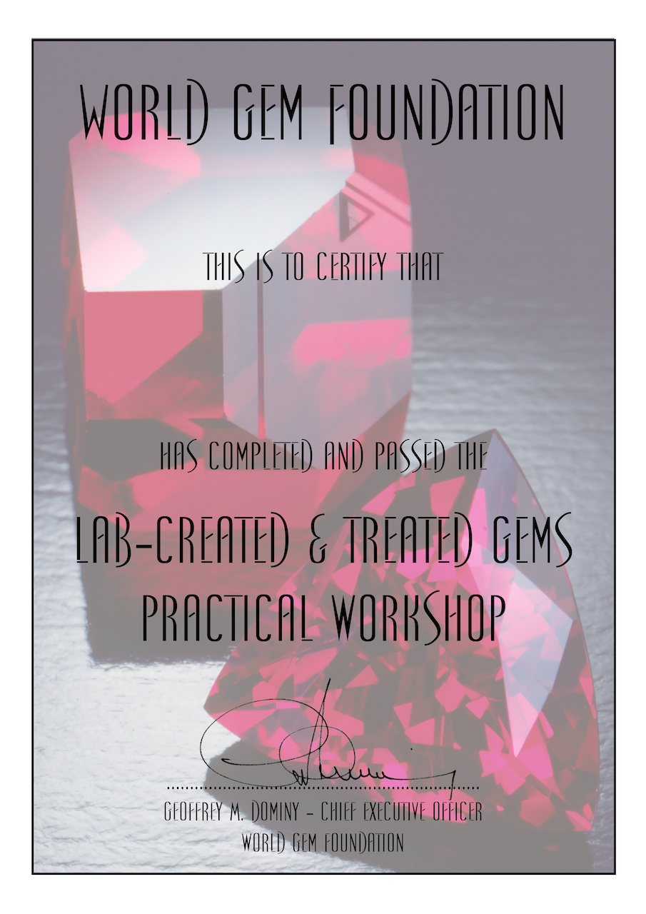Lab-created & Treated Gems Certificate
